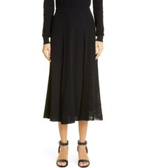 women's givenchy lace panel ribbed midi sweater skirt, size small - black