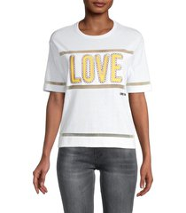 love moschino women's logo embroidered t-shirt - optical white - size 42 (8)