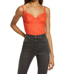 women's allsaints yuni rib bodysuit, size 0 us - orange