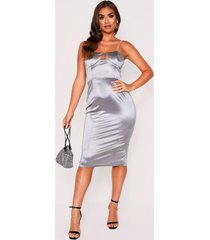 diamante strap bodice stretch satin midi dress, silver