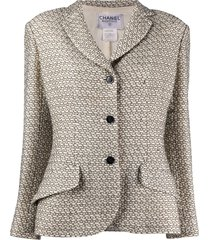 chanel pre-owned geometric pattern woven jacket - white