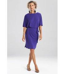 natori matte jersey blouson dress, women's, purple, size l natori