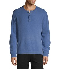 long-sleeve cashmere henley sweater