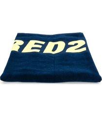 dsquared2 toalha de praia com logo - azul