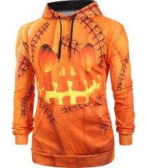 halloween pumpkin print kangaroo pocket pullover hoodie