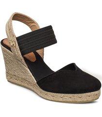 new th basbasic toe wedge sandalette med klack espadrilles svart tommy hilfiger
