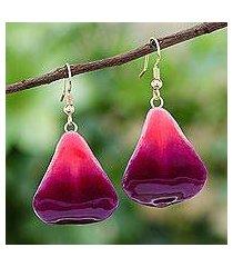 natural flower dangle earrings, 'petal rain' (thailand)