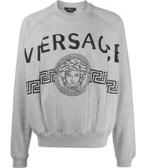 versace spliced medusa head logo print sweatshirt - grey