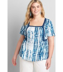 lane bryant women's square-neck peplum top with crochet trim 38/40 blue and white tie dye