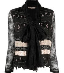 a.n.g.e.l.o. vintage cult 2000s floral-embroidery lace jacket - black