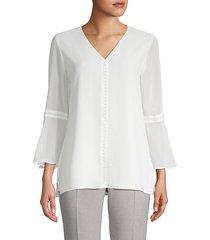 embellished bell-sleeve blouse