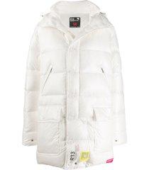 brumal x r13 padded hooded coat - white