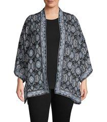 max studio women's plus woven crepe kimono - black multi - size 1x (14-16)