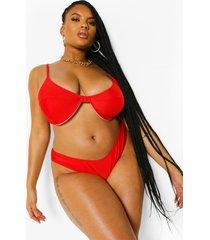 plus essentials bikini top met volle cups, red