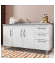 balcão gabinete de pia 150 cm 04 portas 02 gavetas elisa branco - ajl móveis