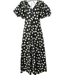 lee mathews cherry spot puff sleeve dress - black