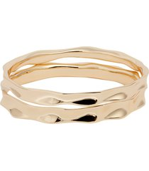 women's halogen wavy metal set of 2 bangle bracelets