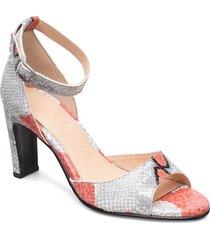 slfkim snake high heel sandal shoes heels pumps peeptoes röd selected femme