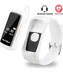 smartwatch, pulsera con audifonos bluetooth-blanco