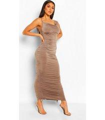 asymmetrische midaxi jurk met bandjes en ruches, chocolate
