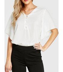 yoins basics blusa blanca de manga corta con cuello en v