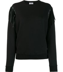 saint laurent leather fringed-shoulders sweatshirt - black
