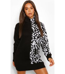 luipaardprint jacquard trui jurk met col, zwart