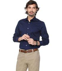 camisa azul oscuro-blanco colore