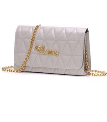bolsa alice monteiro clutch alça corrente - metalassê triângulo - off white