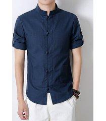 uomo retro camicia in lino con tasca con stile cinese