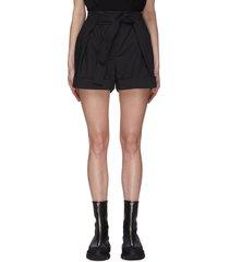 tie waist front pleat shorts