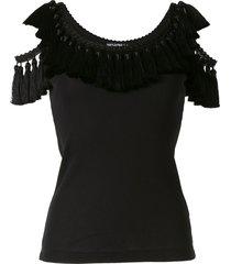 dolce & gabbana cold shoulder tassel trim vest - black
