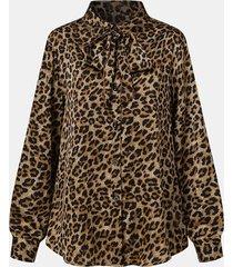 camicetta casual a maniche lunghe con colletto annodato con bottoni con stampa leopardata da donna