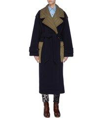 oversized paneled trench coat