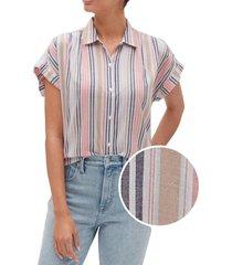 blusa manga corta drapey rayada multicolor gap