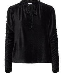 elena velvet cord blouse lange mouwen zwart arnie says