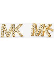 orecchini a bottone in argento sterling placcato in metallo prezioso con logo e pave