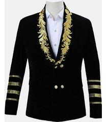 giacca da uomo con un bottone in oro ricamato gentleman autunno casual sottile giacca da giacca adatta