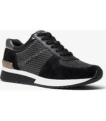 mk sneaker allie in pelle scamosciata e mesh metallizzato con glitter - combo nero (nero) - michael kors