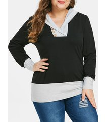 plus size two tone button embellished hoodie