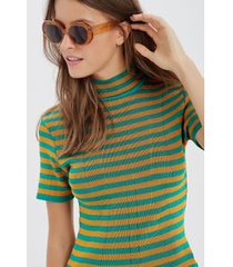 top cropped gola listrado amarelo curry/ verde