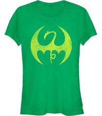 fifth sun marvel women's iron fist distressed dragon logo short sleeve tee shirt