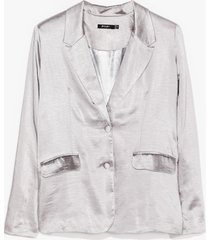 womens business meets pleasure satin relaxed blazer - silver
