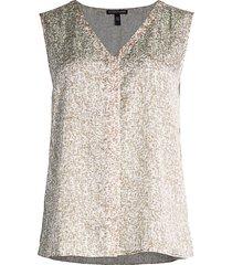 eileen fisher women's print silk & cotton v-neck sleeveless top - bramble ivory - size xl