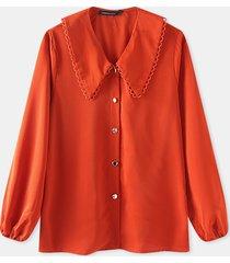 camicetta casual da donna con bottoni a maniche lunghe con risvolto tinta unita