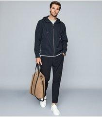 reiss zenif - lightweight hooded jacket in navy, mens, size xxl