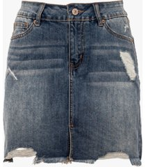 rewash juniors' distressed raw hem denim mini skirt