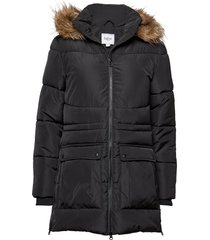 u7008, woven jacket parka lange jas jas zwart saint tropez