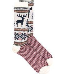 anonymous ism deer-print wool socks - red