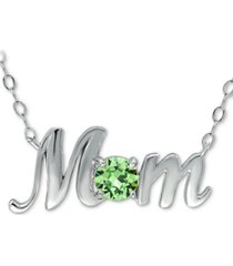 """giani bernini swarovski crystal birth month """"mom"""" pendant necklace in sterling silver, 16"""" + 2"""" extender, created for macy's"""